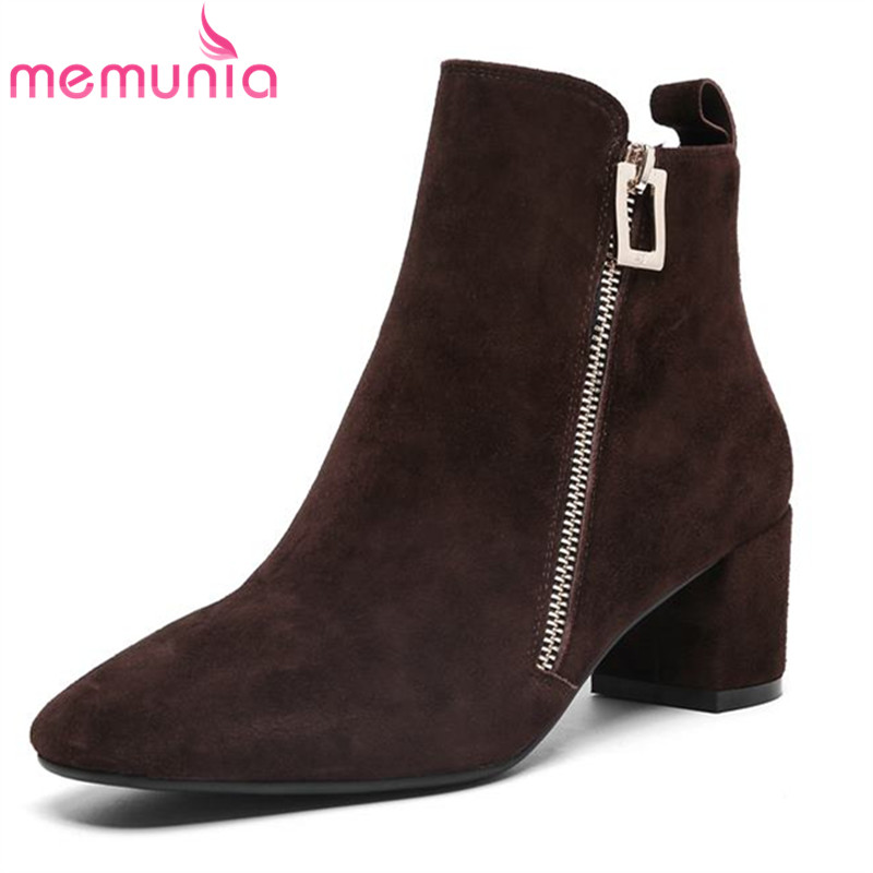 MEMUNIA hot sale suede leather boots woman fashion autumn winter boots female zip solid ankle boots for women pointed toe shoesMEMUNIA hot sale suede leather boots woman fashion autumn winter boots female zip solid ankle boots for women pointed toe shoes