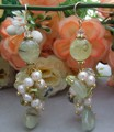 Keshi Pearl&Prehnite Earrings- 925 Golden Hook   free+ shippment
