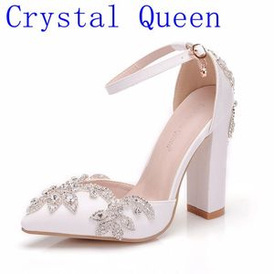 Image 1 - Crystal Queen White 11CM Rhinestone Sandals Pointed Shoes Women Sweet Luxury Platform Wedges Shoes Wedding heels High Heels