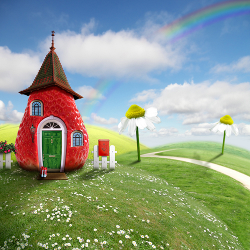 fairy house and sunshine printed newborn photo backdrops Art fabric backdrop for studio children photography backgrounds D-9806 back to school backgrounds deep green backdrops for photo studio baby photo thin art fabric backdrop d 3546
