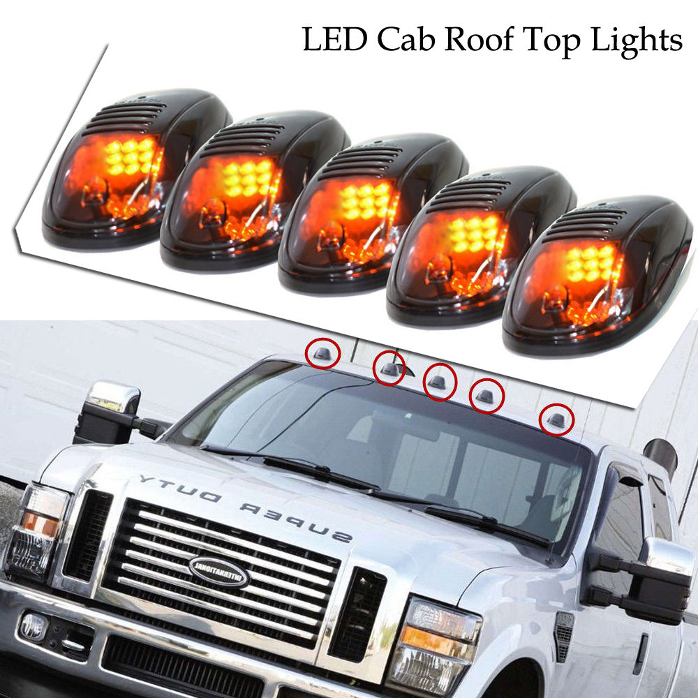9-LED Cab Roof Running Marker Lights for Pickup Truck SUV Off Road 4X4 5PCS/Set