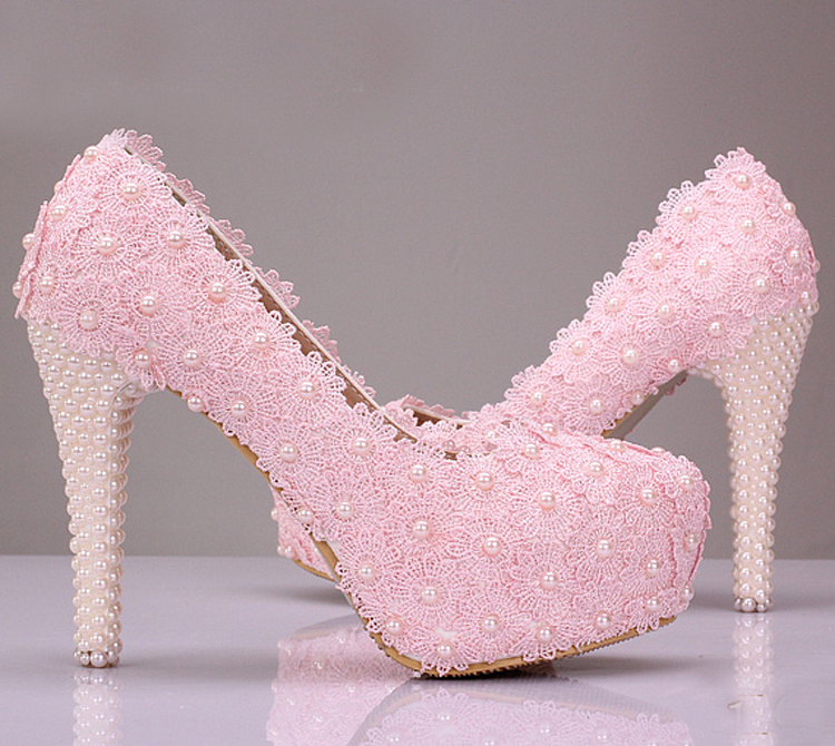 Free Shipping Pink Lace Flower Wedding Shoes Cheap font b Bridesmaid b font Shoes Woman Formal