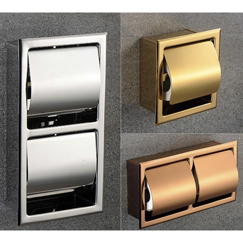 304 Stainless Steel Polished Wall Recessed Built-in Toilet Paper Holder Public Hotel Rose Gold Concealed Roll Tissue