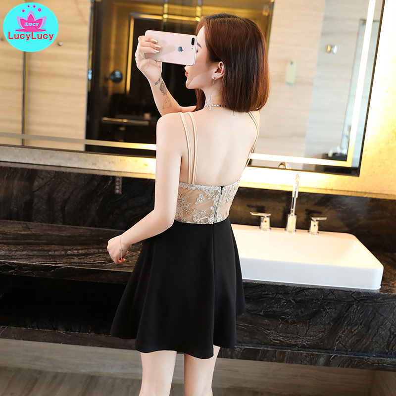 2019 women 39 s new sexy perspective Slim a nightclub low cut umbrella dress Knee Length Zippers Sleeveless in Dresses from Women 39 s Clothing