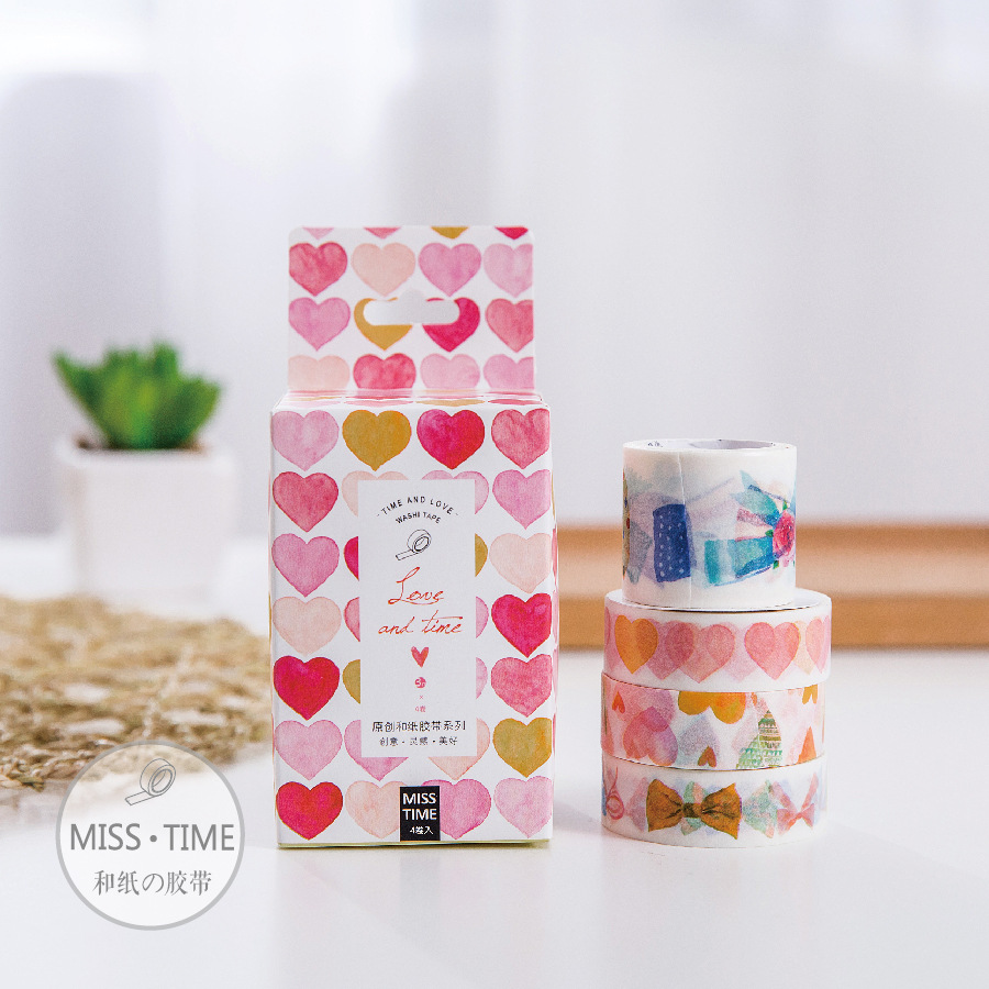 4 Pcs/pack Time And Love Washi Tape 3+1 DIY Paper Masking Tapes For Diary Album Scrapbooking Stationery School Supplies 6318
