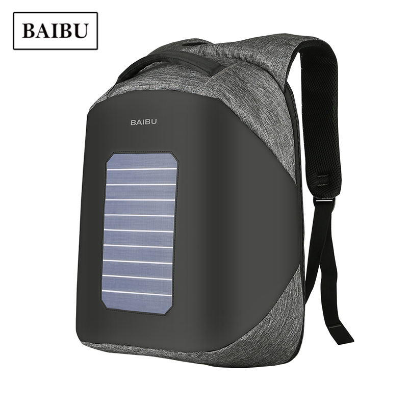 BAIBU Solar Charging USB Backpack Men Casual Anti-theft Business Laptop Bagpack Travel Waterproof Unisex Student School Bag