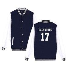 Salvatore 17 вампира Дневники Мистик Фоллс Тимбервулвз куртка принтом Salvatore 17 Для мужчин Для женщин Повседневная одежда Бейсбол форма