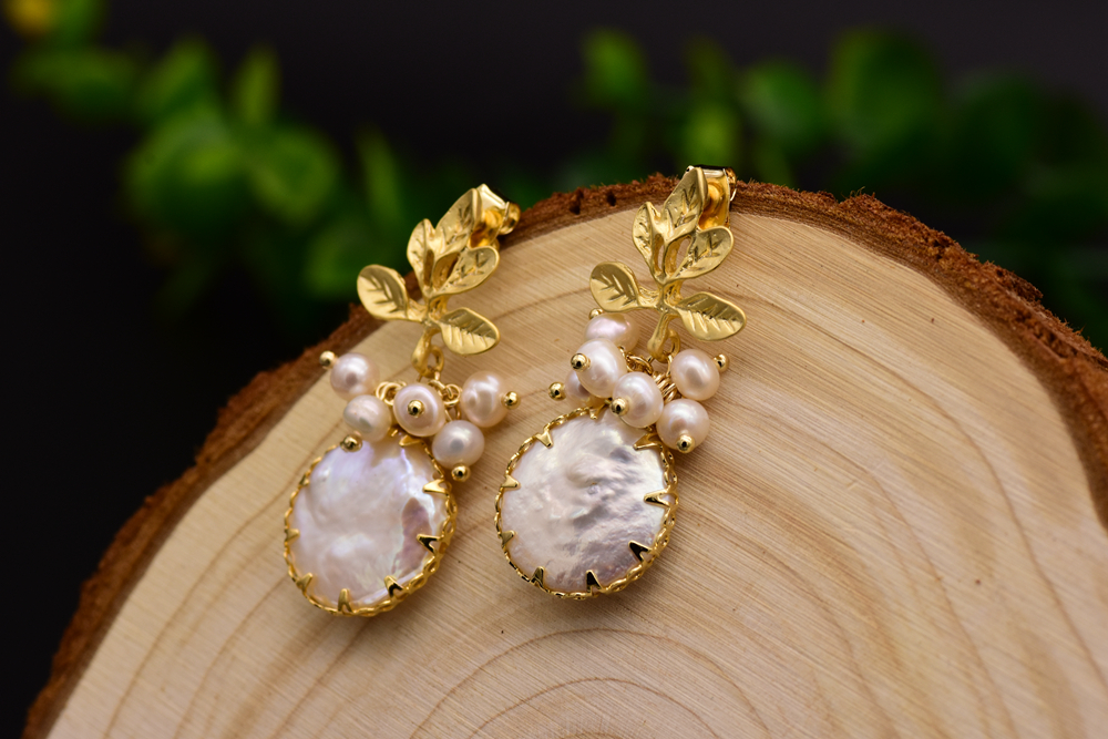 HTB1uF1ncH2pK1RjSZFsq6yNlXXa4 - GLSEEVO Natural Fresh Water Baroque Pearl Earrings For Women Plant Leaves Dangle Earrings Luxury Handmade Fine Jewelry GE0308