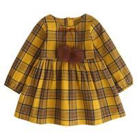 2017 Autumn Girls Dress England Style Yellow Plaid Fur Ball Bow Design Baby Princess Dress Children