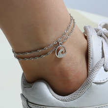 L&H Silver Color Double Layer Anklets For Women Fashion Simple Round Shape Ankle Bracelets Hot Selling Female Chain 2019