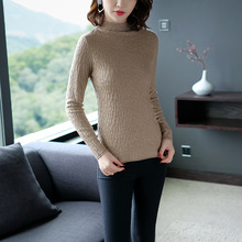 Solid elastic knit turtleneck slim basic sweater 2018 new long sleeve women autumn wool