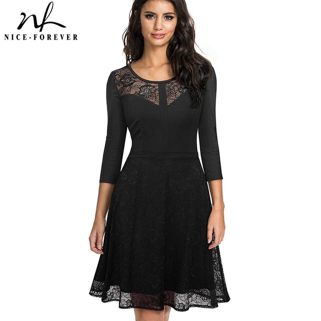 Nice-forever Vintage Embroidery Flower Lace vestidos Sexy Hollow O-Neck A-Line  Pinup Business Women Flare Dress A072 842db6f5ca94