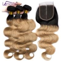 Lemoda hair 4 Bundles Ombre Brazilian Body Wave Human Hair Weave Bundles With Closure T1B/27 Black To Blonde 4x4 Lace Closure