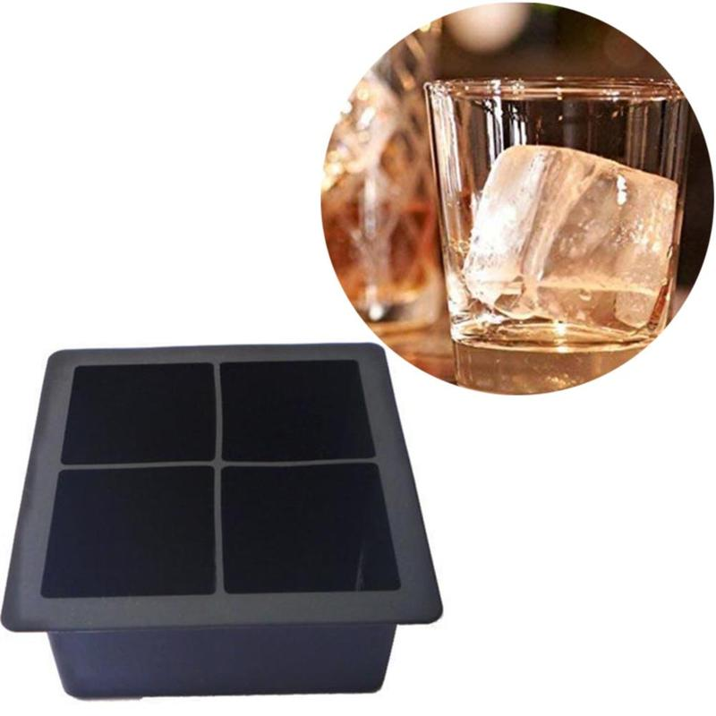 4-Cavity Large Silicone Drink <font><b>Ice</b></font> Cube Pudding Jelly Soap Mold Mould Tray Tools Molds DIY Mold Dropship for Homemade Food image