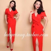 FREE SHIPPING 2016 Summer New Arrival Vintage Elegant Orange Short Sleeve High Waist Low Cut Drape Long Dress Women Clothing