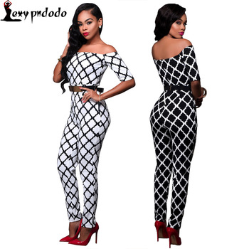 New Autumn Womens Jumpsuits Off Shoulder Sexy Skinny Long Pant Jumpsuit Romper Bodysuits Bodycon Slash Neck Club Plaid One Piece