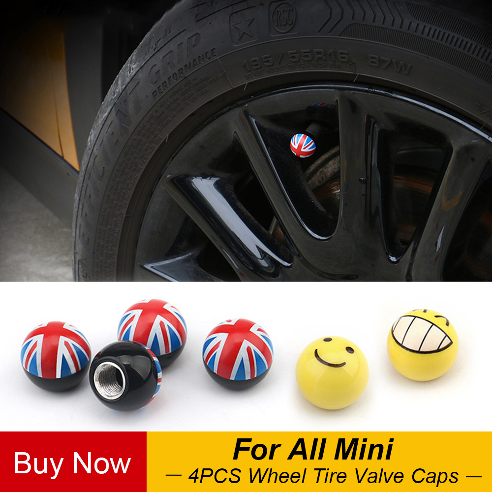 4 Pcs Smile Expression Auto Wheel Tire Valve Caps Cover Stemfor Mini Cooper JCW One S Countryman Clubman Car Styling Accessories