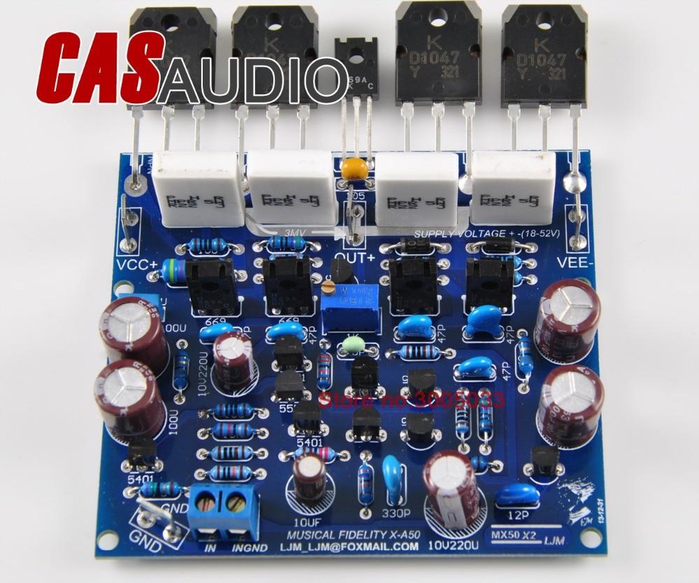 Ljm mx50x2 2 pçs mx50 classe ab 100 w + 100 w amplificador de potência borad terminado