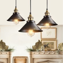 цена на Retro Ceiling Light Lamp Round Vintage Industrial Design Iron Vintage Light Deco Bulb Lighting Fixture