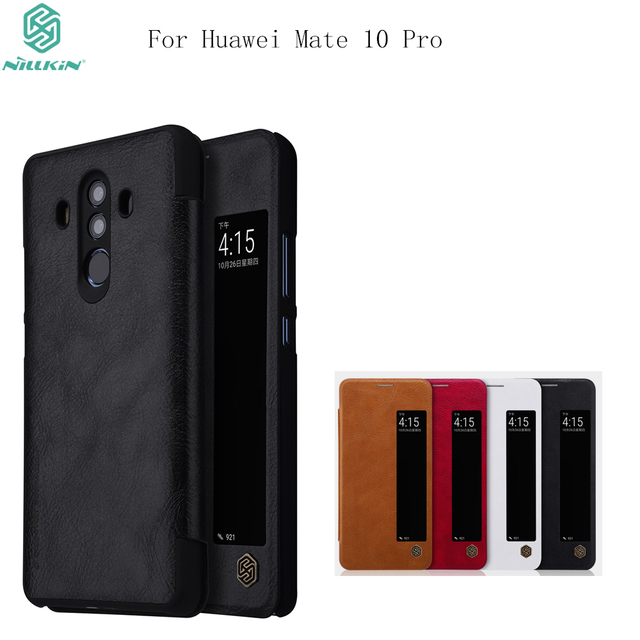 wholesale dealer 3ce4a 0b2b9 US $9.74 36% OFF|Nillkin QIN Series leather Case for Huawei Mate 10 pro  Flip Cover Case Window Design Smart Dormancy Leather Case for mate10 pro-in  ...