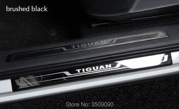 Dla VW Tiguan 2016 2017 2018 2019 MK2 listwy progowe do samochodów listwa progowa listwa progowa dekoracji stylizacji naklejki paski ochrony