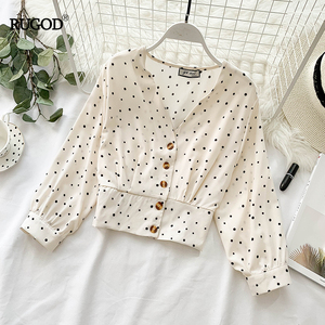 Image 2 - RUGOD Sweet dot print blouse women v neck single breasted long sleeve tops spring blouses casual slim short shirt blusa femme