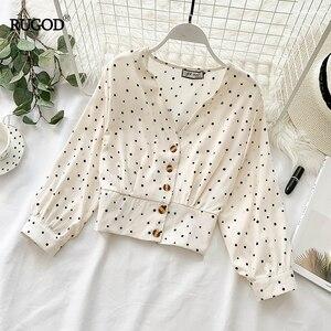 Image 2 - RUGOD blusa ceñida informal con manga larga para Primavera, camisa con estampado de lunares para mujer, cuello de pico, manga larga