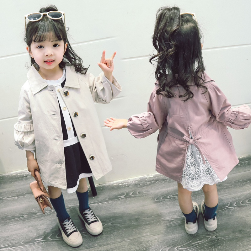 Dollplus 2019 Girls Jackets Solid Color Children Windbreaker Coat   Trench   Fashion Spring Autumn Toddler   Trench   Coat 1-6T
