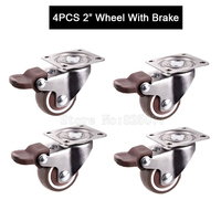 4PCS 2inch Caster With Brake TPE Rubber Super Mute Wheel Bear 30kg Pcs For Bookcase Drawer