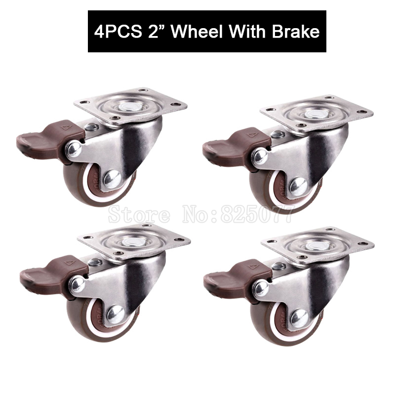 4PCS 2inch Caster With Brake,TPE rubber,Super Mute Wheel,bear 30kg/pcs,For Bookcase Drawer Flower Racks,Small Cupboard JF1445 free shipping 1 5 inch screw universal wheel black rubber wheels m8 25mm round table furniture mute screw bookcase foot wheel