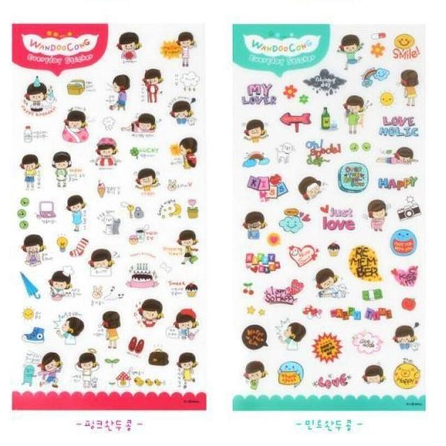 6 pcs lot mobile phone decorative stickers sticker likable mini cartoon print phone sticker scrapbook