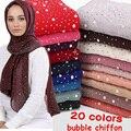 10 teil/los frauen Blasen Chiffon Schal und diamant studs Perlen schal plain hijab schals Wraps einfarbig moslemisches hijab schal