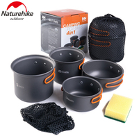 NatureHike New 2 3 Person Picnic Pot Outdoor Camping 4 in 1 Camping Pot sets Cookware Portable Pot