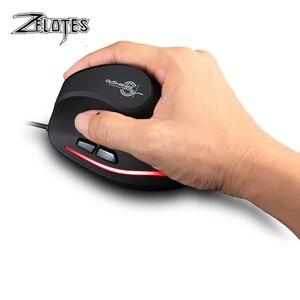 Image 4 - Zelotes mouse com fio vertical T 20, mouse usb programável, 6 botões, led óptico, desktop, pc, 3200dpi, ajuste 3d, mouse para jogos