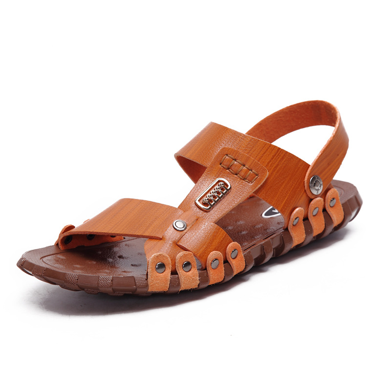Fashion Men Sandals Genuine Leather Mens Dress Sandals 2017 Summer Breathable Mens Beach Shoes Flip Flops Male Casual Slippers