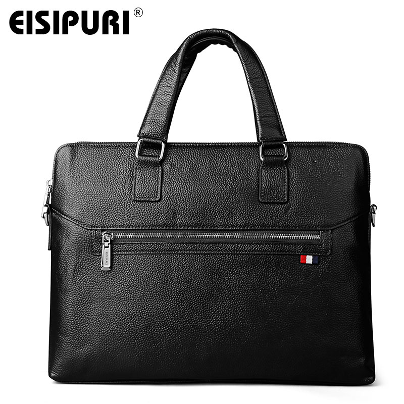 EISIPUR Business Genuine Leather Men Briefcase Cowhide Men's Messenger Bags 14 Laptop Business Bag Luxury Lawyer Handbag new genuine leather coffee men briefcase 14 inch laptop business bag cowhide men s messenger bags luxury lawyer handbags lb9006