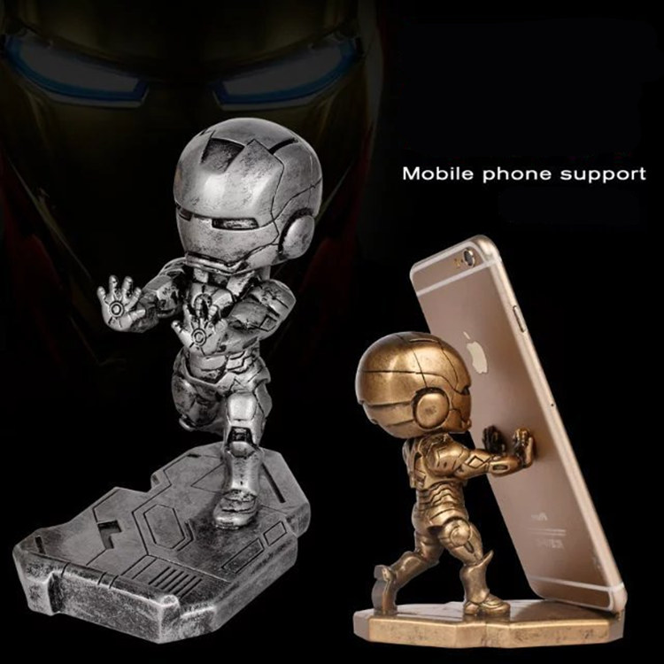 Very cool 12.5cm Super hero Iron Man Phone holder action figure craft model toy Tonny Mark Resin figure Chritmas birthday Gift free shipping marvel iron man action figure superhero tonny pvc figure toy 6 chritmas gift prototype