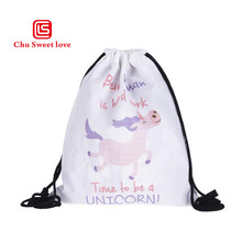 New Mode 3D Digital Print Bouquet Pocket Unicorn Shopping Storage Drawstring Backpack Softback Frauen Drawstring Backpack