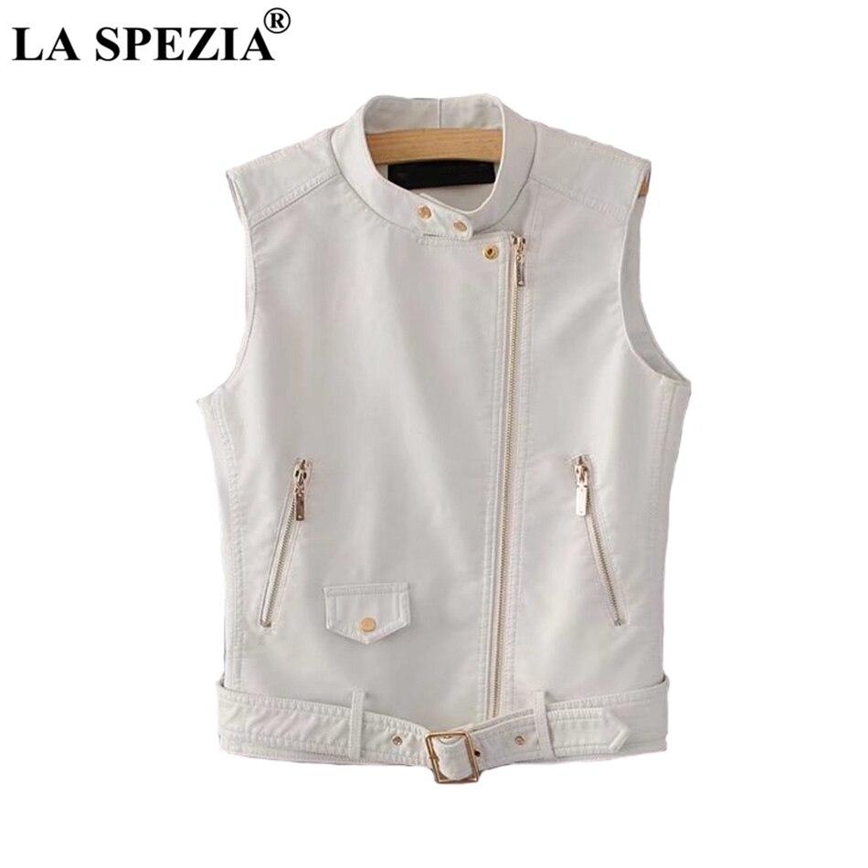 ef431495720 LA SPEZIA Biker Vest Women White Street Motorcycle Waistcoat Ladies Belt  Faux Leather Zipper Pockets Autumn