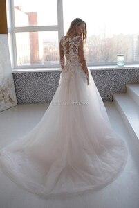 Image 2 - ロマンチックなピンク長袖ウェディングドレス2021ビーズレースアップリケスクープバックレス花嫁のウェディングガウンローブデのみ