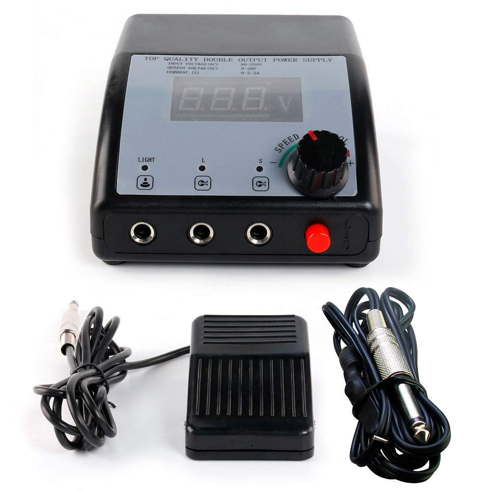 Tattoo Double Output Digital Tattoo Power Supply + Foot Pedal + Clip Cord Kit P102