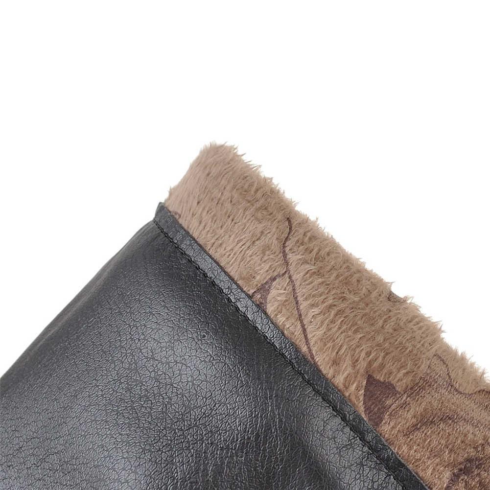 BONJOMARISA Kadın Marka Artı Boyutu 32-48 Patent Pu Kadın Diz Üzerinde Uyluk Yüksek Çizmeler Kadın Kış Yüksek topuklu parti ayakkabıları Kadın