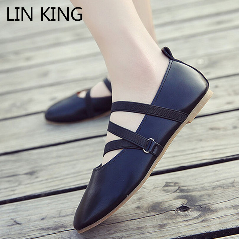 LIN KING Fashion Cross Tie Buckle Women Flats Shoes Comfortable Solid Round Toe Lady Shoes Spring Summer Shallow Mouth Girl Shoe lin king fashion pearl pointed toe women flats shoes new arrive flock casual ladies shoes comfortable shallow mouth single shoes