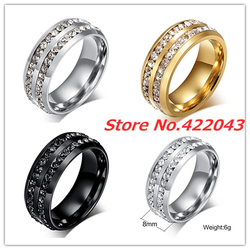 New Fashion Creal Crystal Rings For Women Mens Stainless