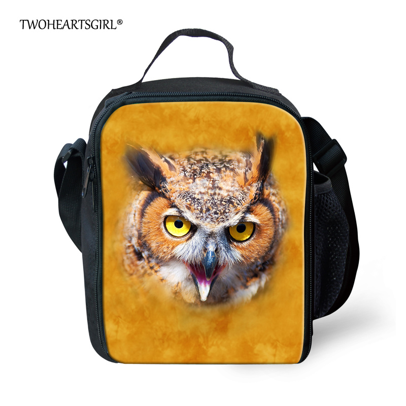 TWOHEARTSGIRL Portable Insulated Canvas Lunch Bags Thermal Food Picnic Lunch Bags for Women Kids Men Owl Animal Lunch Box Totes