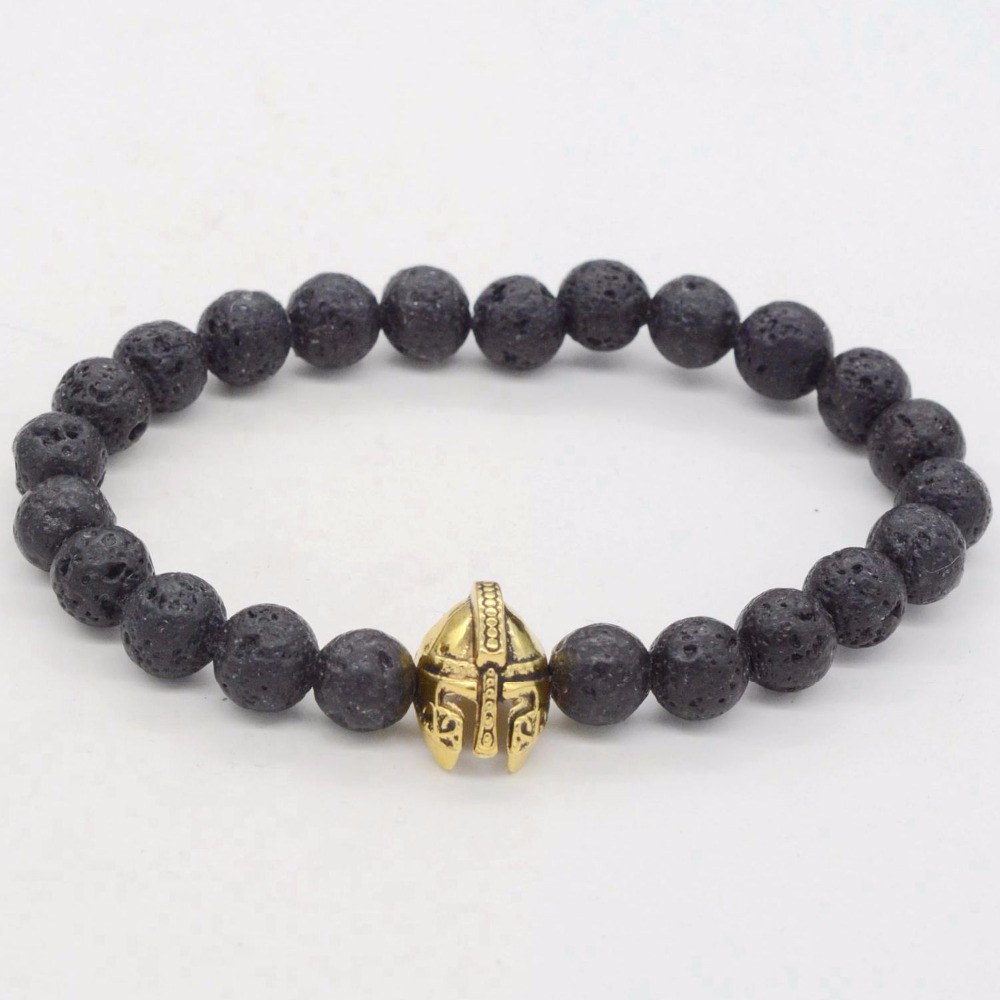 10 pcs Antique Gold Roman Warrior Gladiator Helmet Black Lava Rock Stone Bead Skull Bracelets