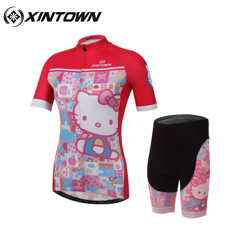 XINTOWN 2017 New Outdoor Sports Cycling Jersey Short Sleeve Cycling Hello-kitty Bicycle Sportswear Breathable MTB Bicycle Wear08 wosawe men s long sleeve cycling jersey sets breathable gel padded mtb tights sportswear for all season cycling clothings