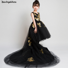 High Low Pageant Dresses for Girls Kids Black Ball Gown Flower Girl Dresses 2018 Little Baby Formal Evening Party Dress little girl party dress ball gowns for children girls pageant gown dresses bridesmaid formal clothing kids pink princess clothes