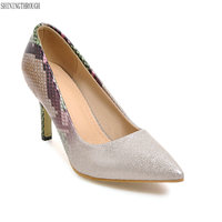 New Top Quality Snake Gradual Change Color Women Pumps Pointed Toe Thin High Heels New Fashion