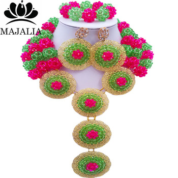 Majalia Fashion Nigeria Wedding African Beads Jewelry Set Green and hot pink Crystal Necklace Bridal Jewelry Sets 3SP006